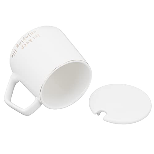 SHYEKYO Taza de café de cerámica, Taza de café de 320 ml con Tapa y Cuchara para Oficina para Regalo(White Let Letter Spoon with Lid)