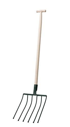 KADAX Rübengabel, Forke mit Holzstiel, Spatengabel mit 6 Zinken, Heugabel, Grabegabel, Kartoffelgabel, Mistgabel aus Stahl, Gabel für Rüben, Garten, Kartoffelgabel, Gartengabel (T- Griff)