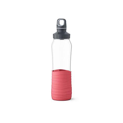 Emsa N3100400 Drink2Go - Botella de cristal (0,7 L, cierre de rosca),...