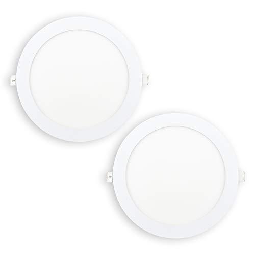 POPP® Packx2 Downlight LED Techo Interior Placa Empotrable Redondo 18W Equivale a 140W, Luz Blanca Cálida, 1710LM, 225MM, Con Chip de Alta Calidad OSRAM, Driver Incluido(18watios 3000K, 2 unidad)
