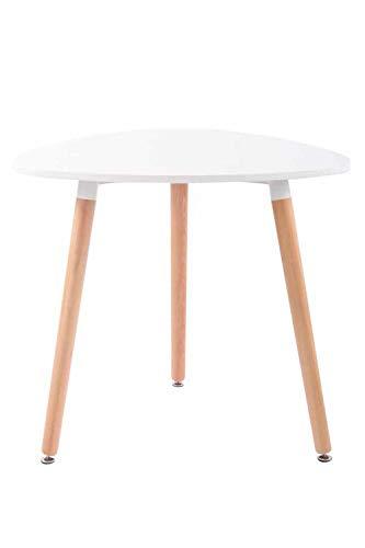 CLP Küchentisch ABENRA I Esstisch Mit MDF Tischplatte I Bistrotisch Mit Buchenholzgestell, Farbe:weiß, Größe:80 cm