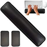 Keyboard Wrist Rest by Rancco, 14.5' Leatherette Stitched Edge Soft Memory Foam Gaming Mouse Wrist Cushion Pad w/Non-Skid Mat for Notebook/Desktop, Suit for Offices, Home