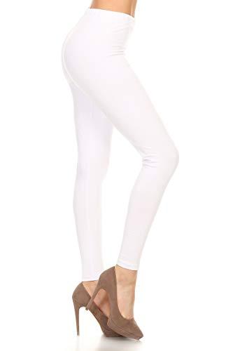 NCL32-White-L Cotton Spandex Solid Leggings, Large