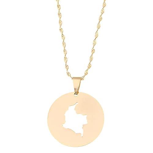 Mapa de color dorado de acero inoxidable de Colombia collares pendientes para mujeres joyería de cadena de mapa redondo colombiano