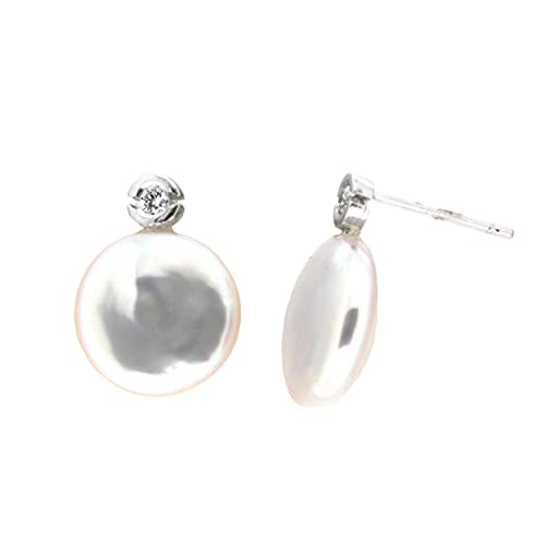 Pendientes diamantes perla oro blanco 18K [62-2226-1-P]