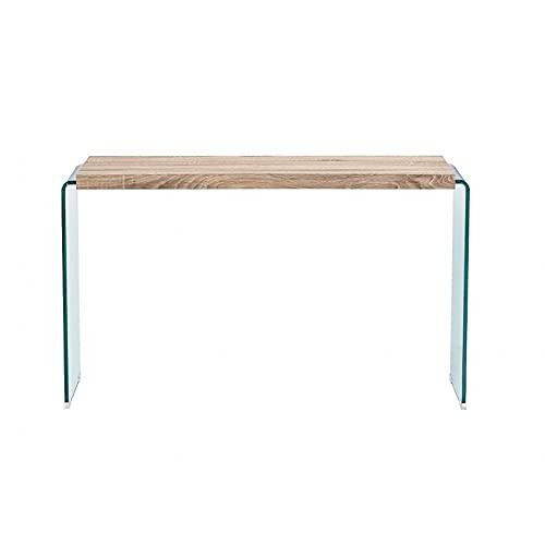 Consola Mesa Diseño BANAK, Madera, Cristal Curvado, 120x40 cms