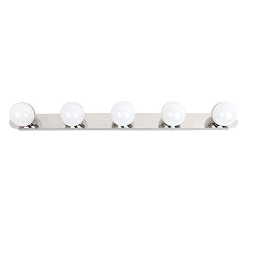 Aplique LED de pared para baño, sobre espejo, camerino, cromo brillo, led 5x3W y 1500 lúmenes, estilo sencillo y elegante, tono de luz blanca neutra 4000K.