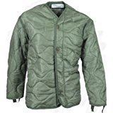 Foliage Green Quilted M-65 Field Jacket Liner, U.S. Army Cold Weather Coat Insert (SMALL)
