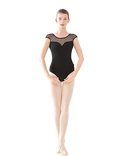 Black Ballet Leotards for Women, Lace Splice Sleeveless Nylon Gymnastics/Dance Leotard Outfit