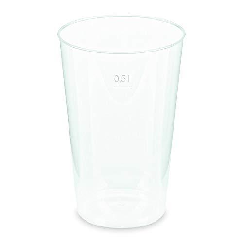 1 confezione di bicchieri riutilizzabili per birra, infrangibili, in polipropilene, con tacche di taratura da 0,50 l, Ø 9,1 cm, 90 pezzi