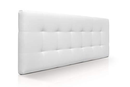 SUENOSZZZ-ESPECIALISTAS DEL DESCANSO Cabecero de Cama Canadá tapizado en Polipiel para Camas de 150 (160 x 57 cm) Polipiel Blanco