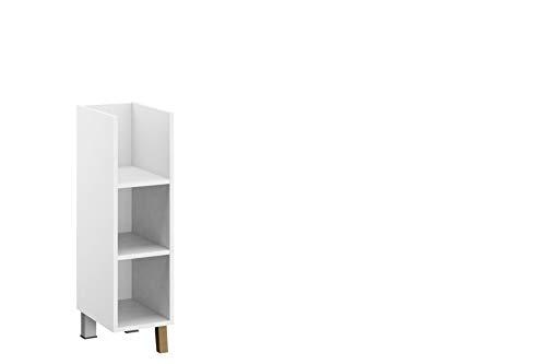 Rauch Möbel Carlsson Regal Regalelement für zusätzlichen Stauraum der Wickelkommode in Weiß, Füße  Eiche Massiv inklusive 2 Einlegeböden, BxHxT 23x87x 40 cm