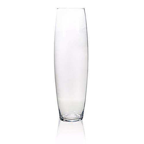 Vase en verre cylindrique, hauteur 60 cm