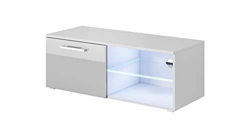 E-com - Mueble TV Salon Moderno Mesa Television Zeus - 100cm - Blanco/Gris