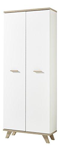Germania 4054-221 Aktenschrank im skandinavischen Design GW-Oslo in Weiß/Absetzungen Sanremo-Eiche-Nachbildung, 75 x 193 x 37 cm (BxHxT)