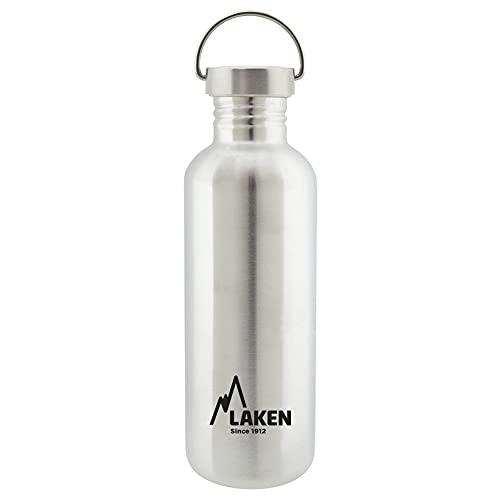 Laken Basic Borraccia in Acciaio Inossidabile, Bottiglia d'acqua con Tappo a Vite in Acciaio, Bocca Larga, 1L, Argento