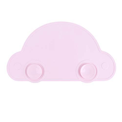 Eleusine Ungiftig Silikon Tischeinstellen Platte Geschirrwagen Saugnapf Isolierauflage Wasserdicht Kinder rutschfeste Tisch Pad (Rosa)