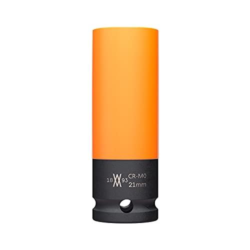Kraft-Schoneinsatz 21mm für Alu-Felgen für Schlagschrauber von WIESEMANN 1893 I Kraft-Steckschlüssel-Satz I Schonnüsse I Impact Socket I 0,5 Zoll I 80317