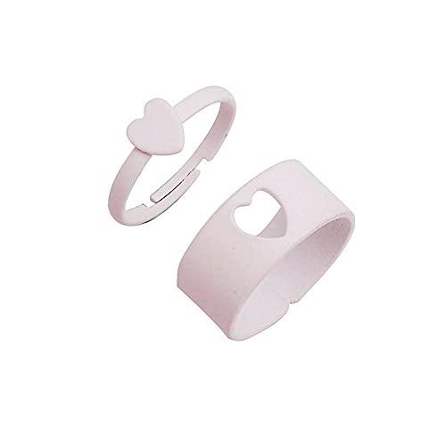 2 unids caramelo Color amor anillo abierto para las mujeres anillos de la junta de moda para las niñas anillos de dedo para las parejas amantes - blanco