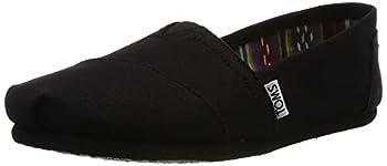 TOMS Women s Classic Alpargata Slip-On Shoe Black On Black Canvas 9.5 M