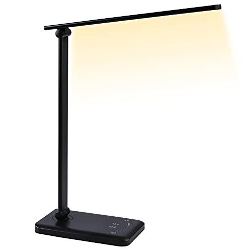Lámpara Escritorio LED, 8W 5 Modos de Iluminación Lámparas de Mesa que Cuidan la Vista 10 Niveles de Brillo 3000K-6000K Lámpara de Oficina Regulable con Toque Ajustable y Puerto Carga USB para Leer