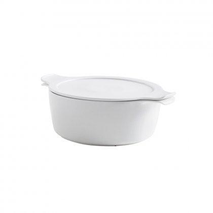 Eschenbach 49248888813247 Cook und Serve Topf mit Deckel 4 L / 24 cm Kochtopf aus Porzellan, weiß, 31.5 x 15 x 24.8 cm, 2 Einheiten
