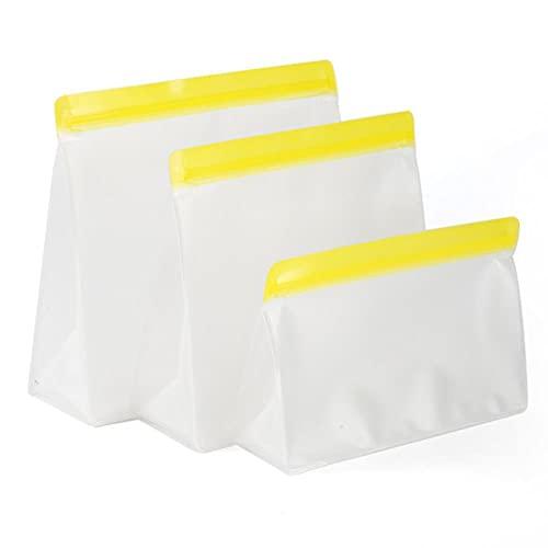 1 bolsa de almacenamiento de alimentos de silicona reutilizable para congelador, a prueba de fugas, con cierre de cremallera superior, bolsas de cocina, para mantener fresco, color amarillo, Francia
