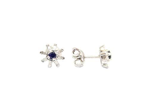 PH - Pendientes de tuerca hechos a mano de plata de ley 925 con zafiro azul natural, piedras preciosas - W