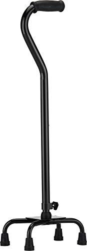 """NOVA Heavy Duty Quad Cane, 500 lb. Weight Capacity Four Legged Walking Cane, Height (for Users 4'11"""" – 6'4"""") & Left or Right Side Adjustable, Color Black"""