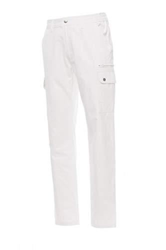 PAYPER Forest Pantalone da Uomo multistagione Lavoro con Tasche Laterali Anteriori Posteriori Chiusura Zip 100% Cotone (XXL, Bianco)