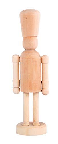 Rayher 46465505 Holz Deko-Nussknacker, natur, 6,6 x 5 cm, Höhe 20 cm, Dekoobjekt, unbemalt, zum bemalen und verzieren
