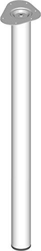 Element System 4 Stück Stahlrohrfüße rund, Tischbeine, Möbelfüße inklusive Anschraubplatte, Länge 90 cm, Durchmesser 60 mm, 4 Farben, 6 Abmessungen, weiß, 11102-00058