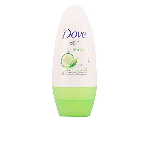 Dove - Desodorante Go Fresh Antitranspirante Roll On para Piel Sensible Té Verde y Pepino 0% Alcohol - 50 ml
