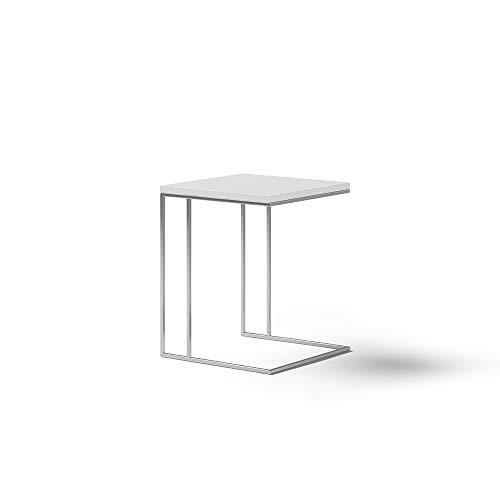 KND Design Mesa auxiliar Moderna, Acabado en Blanco y Metal Cromado, Mesita de Salón con Medidas: 45 cm (Largo) x 45 cm (Ancho) x 57 cm (Alto).