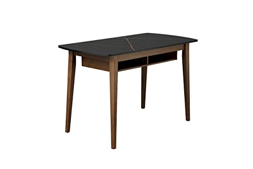 MODERN DESIGNS BY CRAFTS & COMFORT Monza 47 Inch Computer Desk, Marbleized Accent Mid Century Desk with Recessed Drawers, Writing Desk for Small Area - Black/Walnut