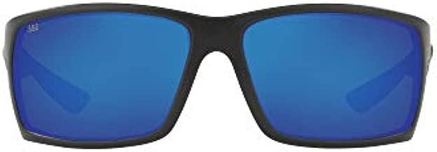 Costa Del Mar Men's Reefton Polarized Rectangular Sunglasses, Blackout/Blue Mirrored Polarized-580G, 64 mm
