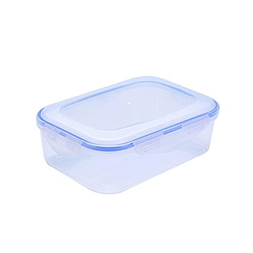 ZQJD - Contenitore di plastica per frigorifero trasparente rotondo quadrato sigillato in barattolo da cucina per alimenti e verdura rettangolare 1000 ml, 19,9 x 14,2 x 6 cm