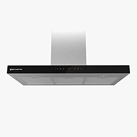 EAS ELECTRIC SMART TECHNOLOGY | EMRH908TX | Campana extractora | Campana decorativa NoTouch | Anchura de 90 cm | Color Inox y cristal negro | Táctil | 4 niveles | LED | 3 Filtros de 5 capas lavable