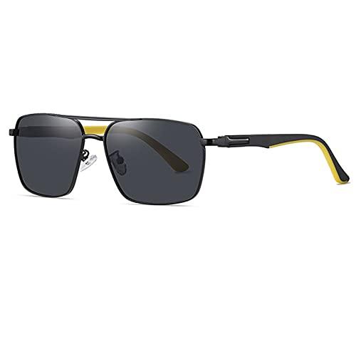BDBY Gafas de Sol al Aire Libre, Marco Cuadrado Retro de Metal para Hombres Mujeres UV400 Polarized Sun Lens, Anti-Ultravioleta, Lente Plana para Pesca de Ciclismo D