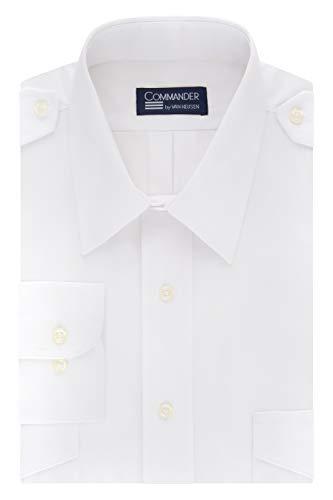 Van Heusen Men's Pilot Dress Shirt Long Commander, White, 15.5