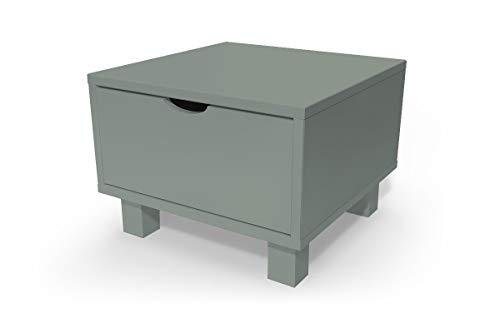ABC MEUBLES - Chevet Cube tiroir Bois, Couleur: Gris
