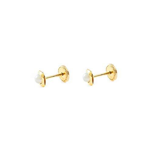 Pendientes bebe o Niña Oro cuadrado con perla (9kts)