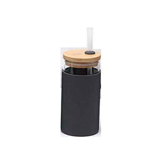 XinLuMing Copa de Vidrio de 550 ml con Paja y Tapa, Creativa, Botella de Agua, Transparente, Botella para jugos, Agua. (Color : 3)