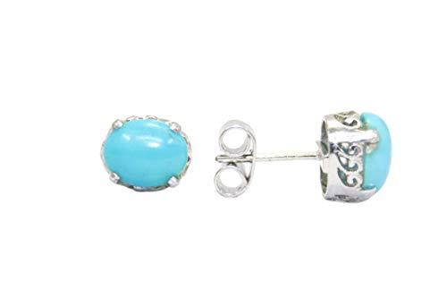 PH - Pendientes de tuerca hechos a mano de plata de ley 925 para mujer con piedras de turquesa azul - N