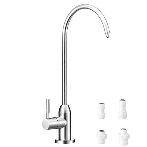 PURENAT Reverse Osmosis/RO Water Faucet,Lead-Free Drinking Water Faucet,Safe Water Filter Faucet,Brushed Filtered Water Faucet(304 Stainless Steel) for Kitchen Sink with 4 Size of Quick Fittings