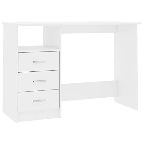 Festnight Escritorio con Cajones de Aglomerado Mesa de Oficina con 3 Cajones y un Compartimento Abierto Blanco Brillante 110x50x76 cm