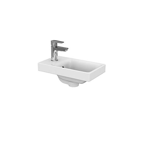 VBChome Kollektion Moduo 40 cm x 22 cm Waschtisch für Unterschrank Einbau Waschbecken mit Überlauf Weiß Keramik Waschtisch Handwaschbecken Einbau -Waschschale FÜR BADEZIMMER