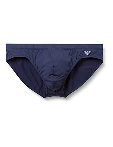 Emporio Armani Swimwear Low Brief Embroidery Logo Slip da Bagno, Black, 50 Uomo