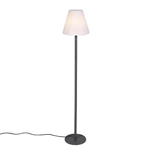 QAZQA Modern Moderne Outdoor Stehleuchte/Stehlampe/Standleuchte/Lampe/Leuchte dunkelgrau - Virginia/Außenbeleuchtung Kunststoff/Edelstahl Rund/Länglich LED geeignet E27 Max. 1 x 23 Watt