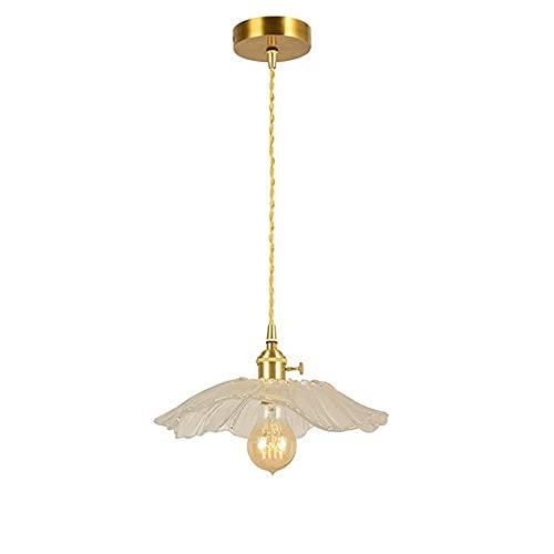 NZDY Pantalla de Cristal Tallada Creativa Iluminación Colgante Transparente, Mini Candelabro de Forma de Loto Minimalista Moderno, Lámpara Colgante de Soporte de Lámpara de Metal de Latón de Estilo R
